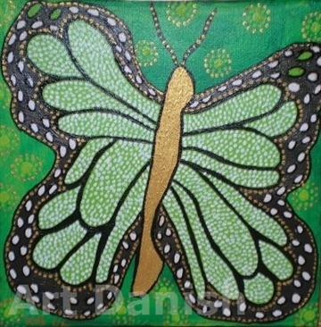 GREEN BUTTERFLY Acryl på lærred