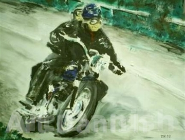 Triumph motorcykel bike in oil painting on board